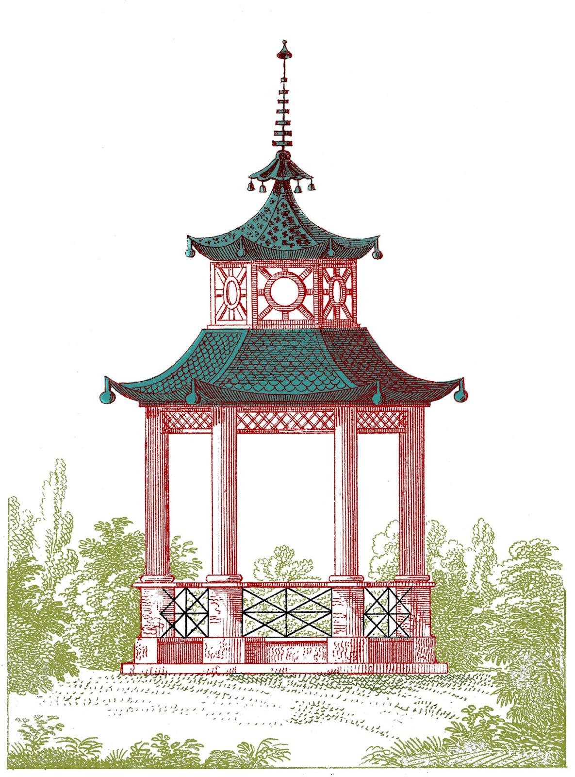 Antique Garden Graphic - Beautiful Pagoda Gazebo - The Graphics Fairy