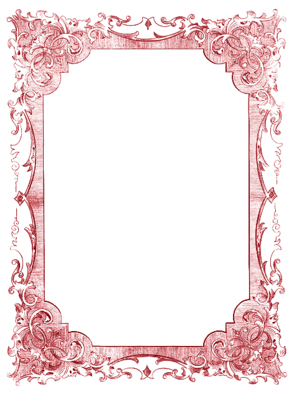 Vintage Clip Art – Romantic Frames – Christmas Colors
