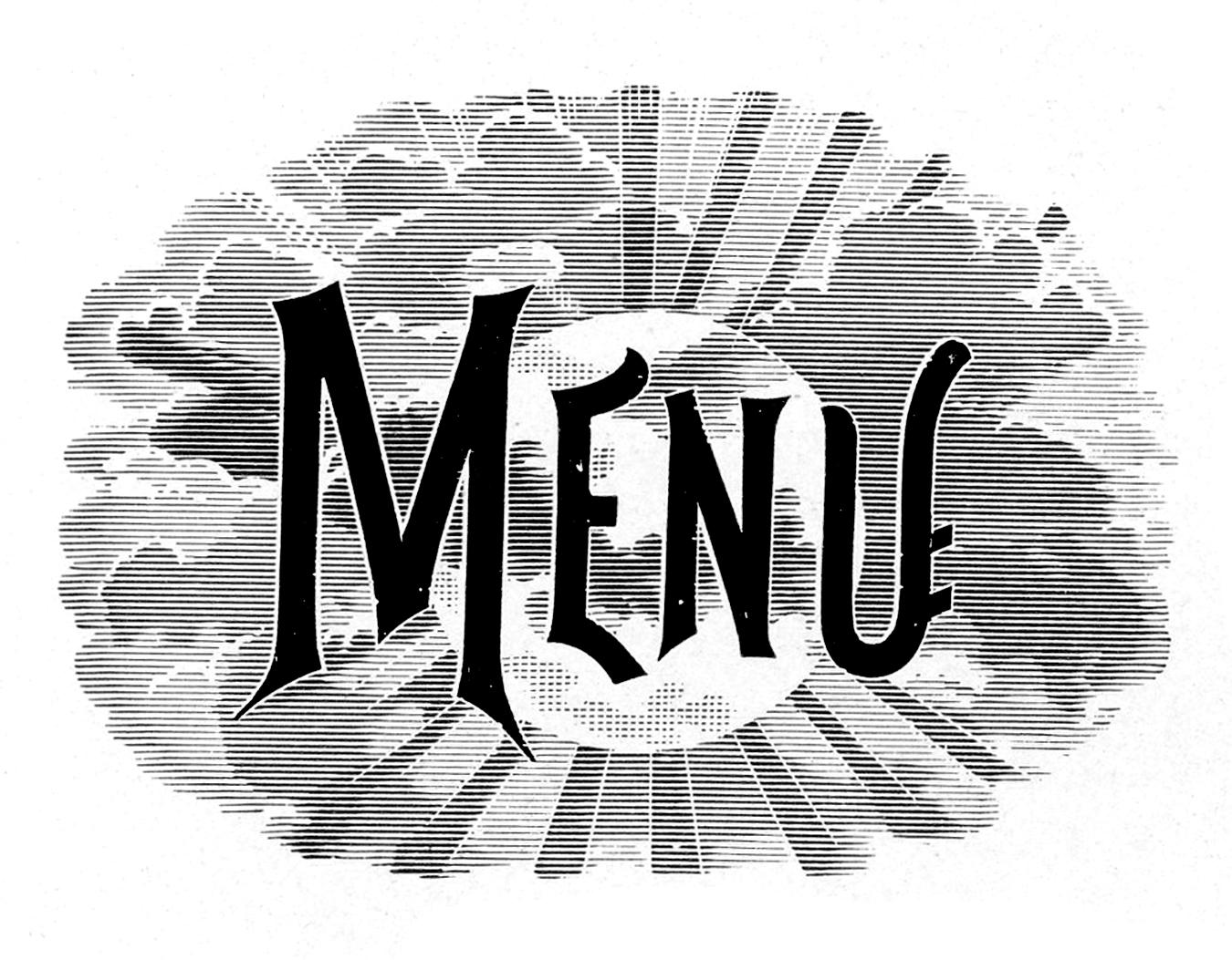 Vintage Typography Menu Headings Wedding The