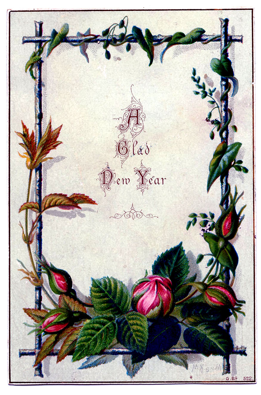 Vintage New Year Clip Art - Moss Rose Frame - The Graphics ...
