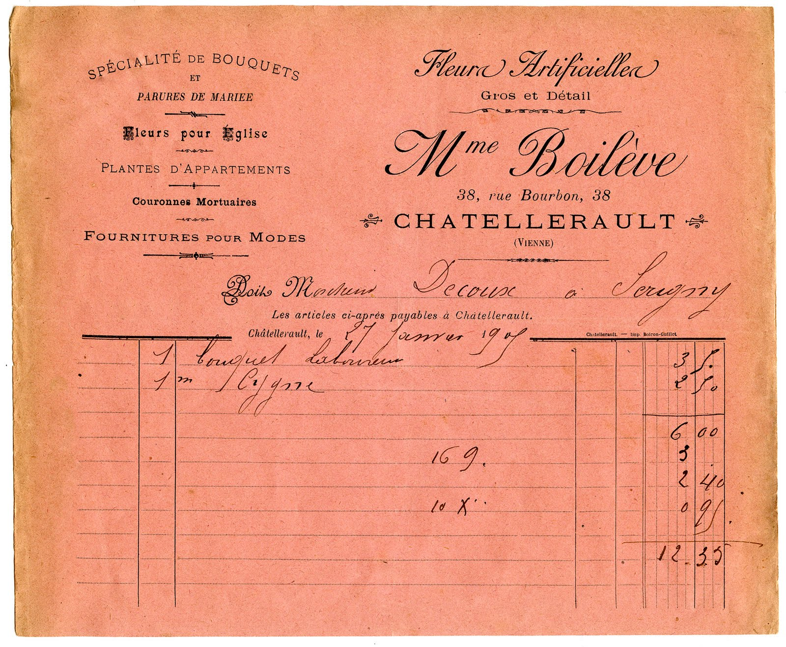 French Invoice Flower Seller Printable The Graphics Fairy - Invoice in french