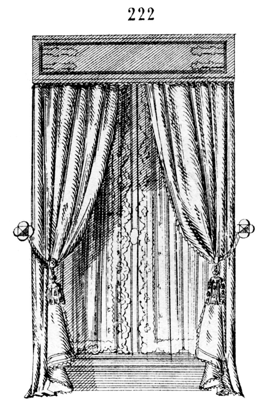 Vintage Clip Art Gorgeous French Draperies Windows