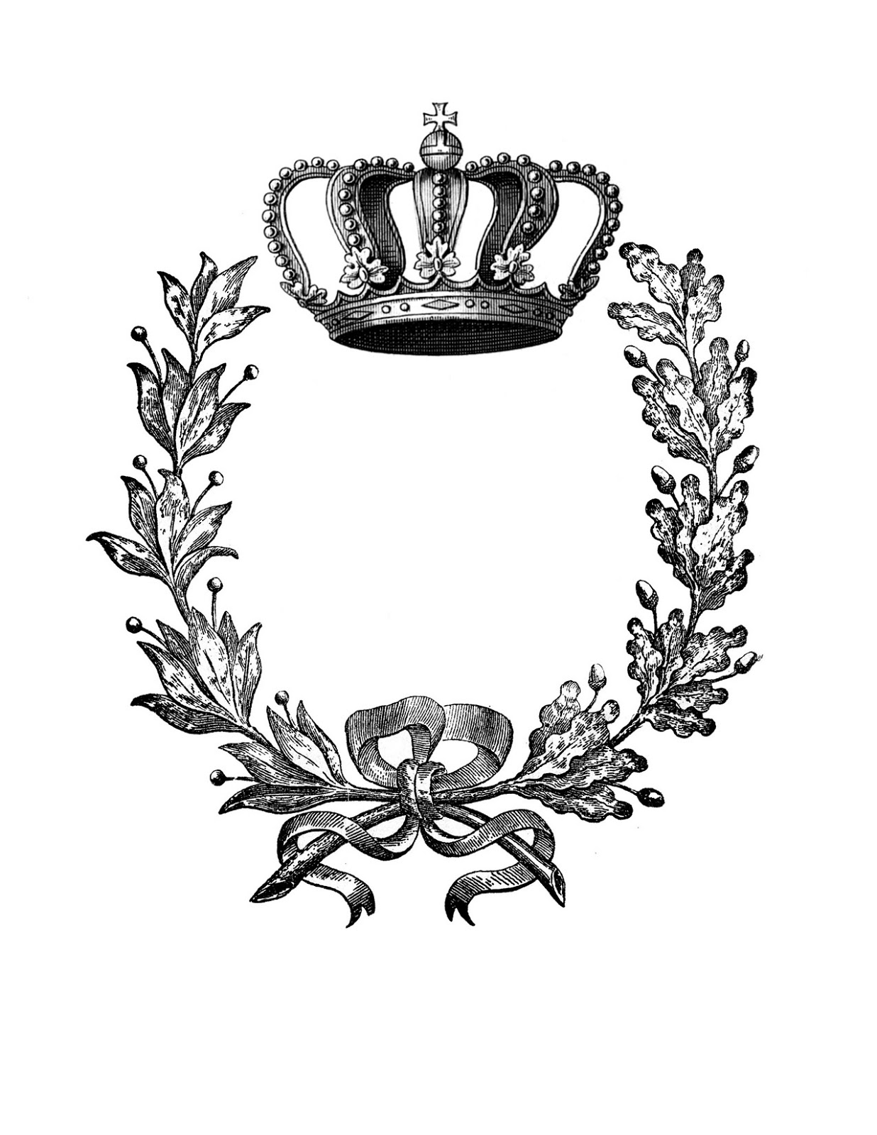 Iron On Transfer Wreath With Crown 2 The Graphics Fairy