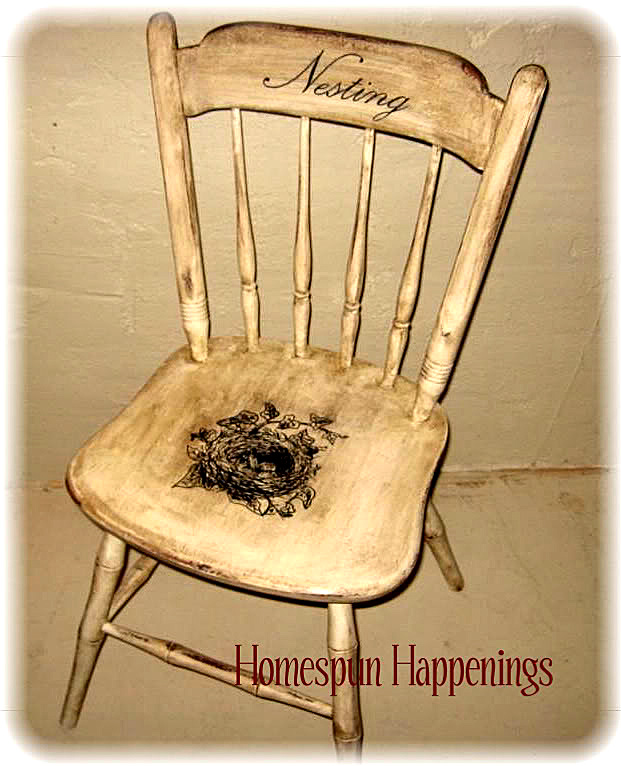 Next Iu0027m Bragging About This Adorable Nesting Chair, Made Over By Tammy At  Homespun Happenings! Darling! She Used The Nest Engraving Image, ...