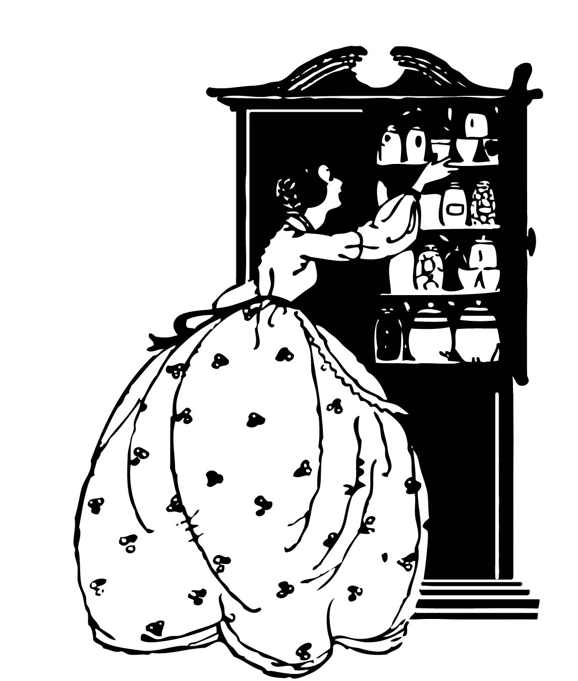 Cupboard Clip Art: Woman With Cupboard