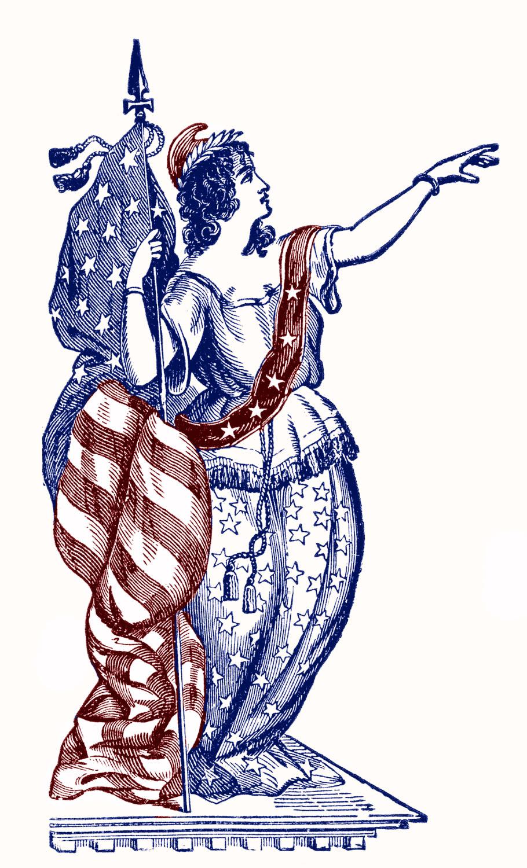 Vintage Patriotic Clip Art Lady Liberty 4th Of July