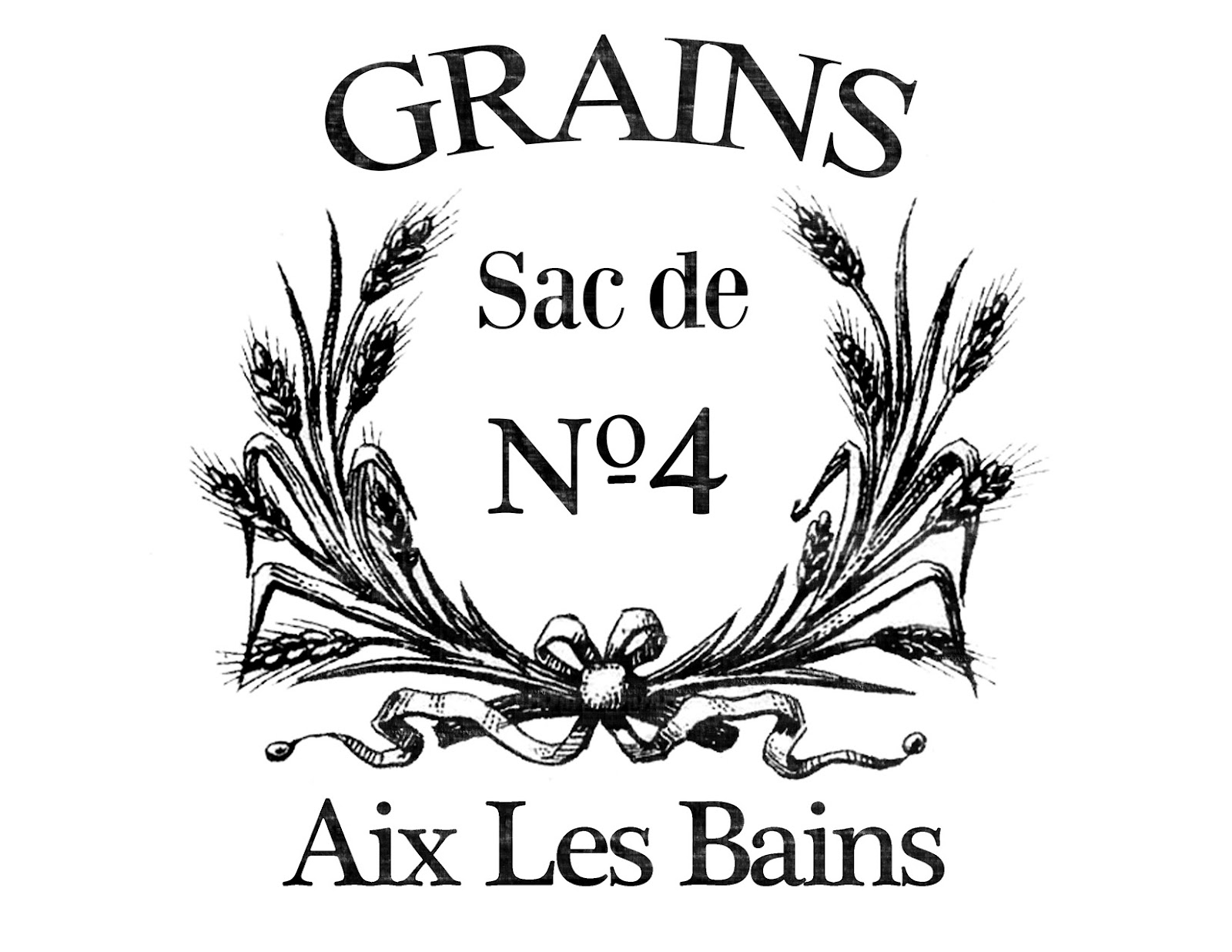 Transfer printable french grain sack with wheat wreath - The graphics fairy ...