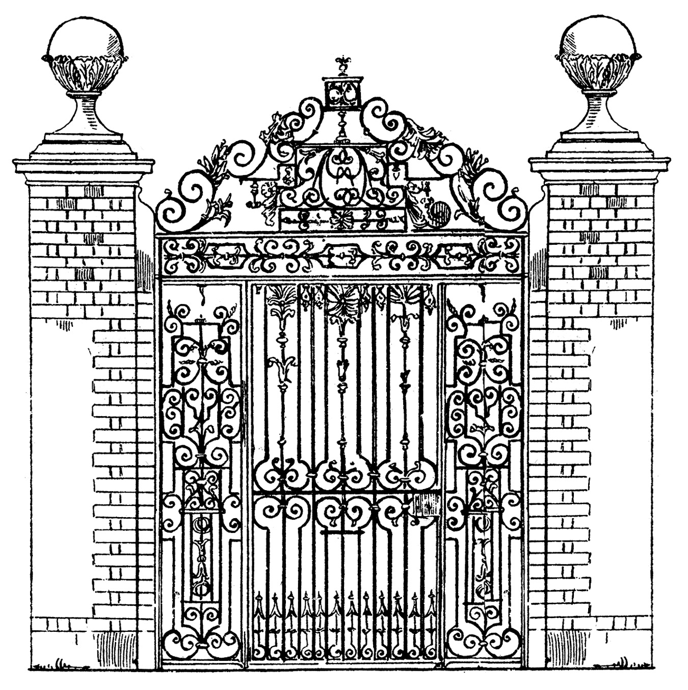 Vintage clip art ornate iron gate scrolls the