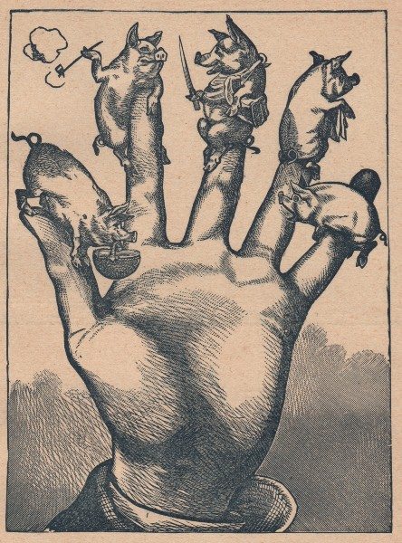 Victorian Hand with 5 Pigs - The Graphics Fairy