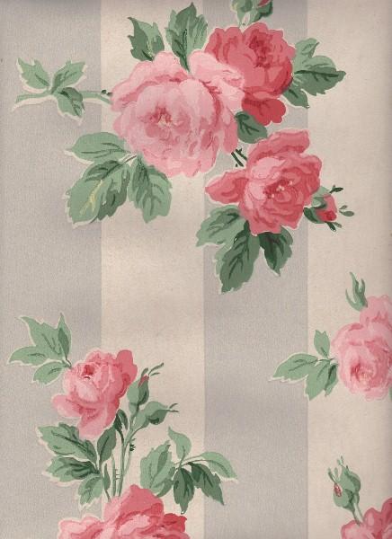 Vintage Wallpaper Cabbage Roses