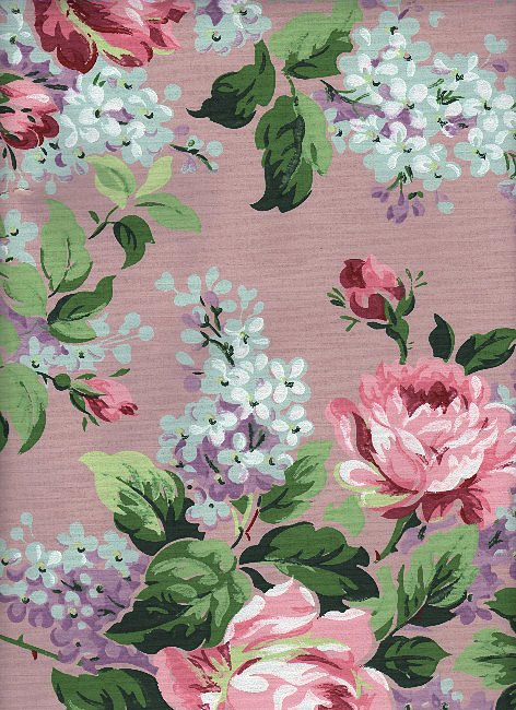 Vintage Lilac & Roses Wallpaper Graphic