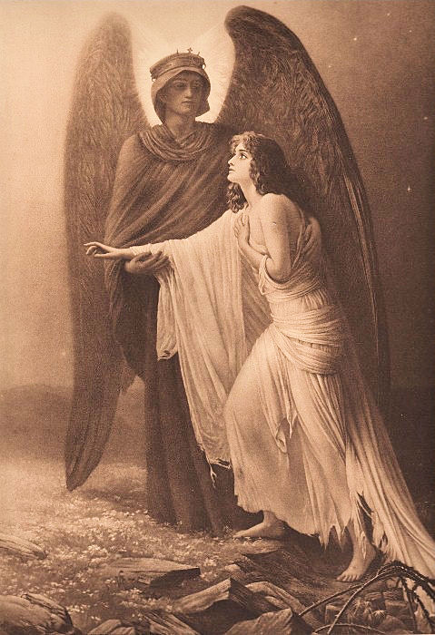 Old Sepia Print - Guardian Angel