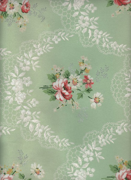 Sage Green Floral Wallpaper The Graphics Fairy
