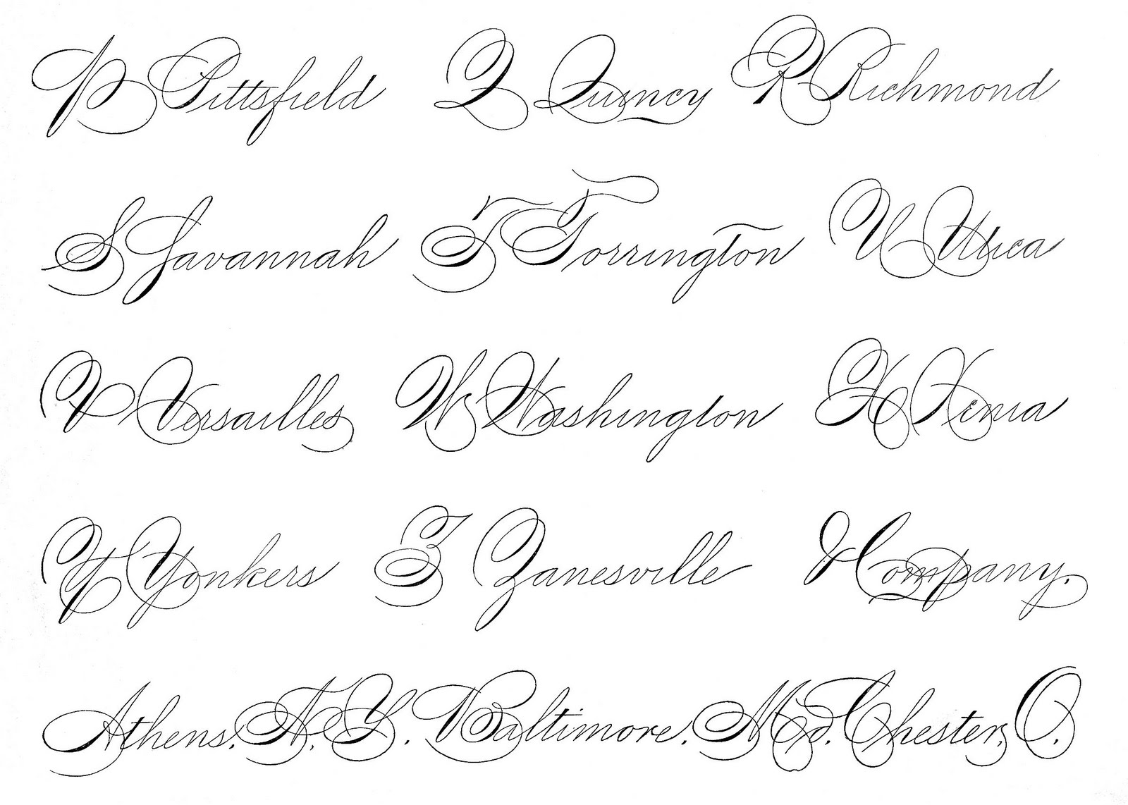 Spencerian Saturday - Pen Flourished Words - The Graphics Fairy