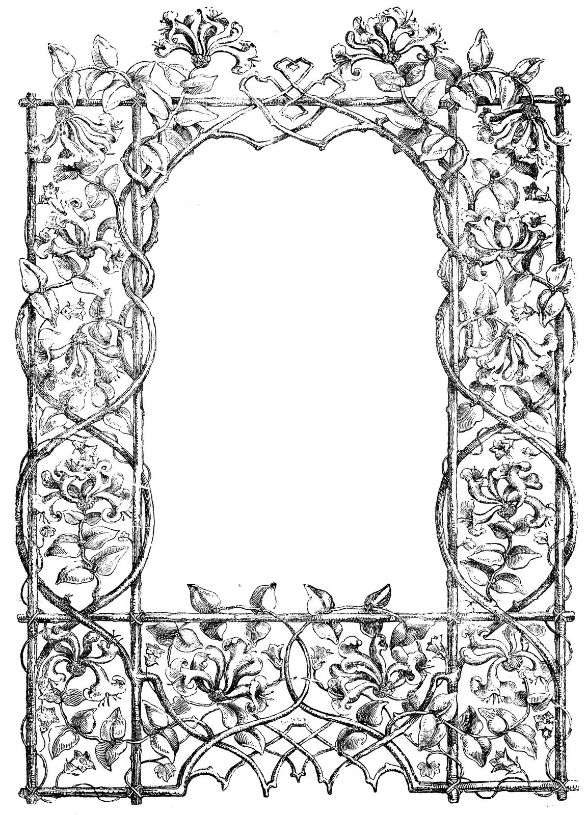 Antique Clip Art - Faux Bois Frame - The Graphics Fairy