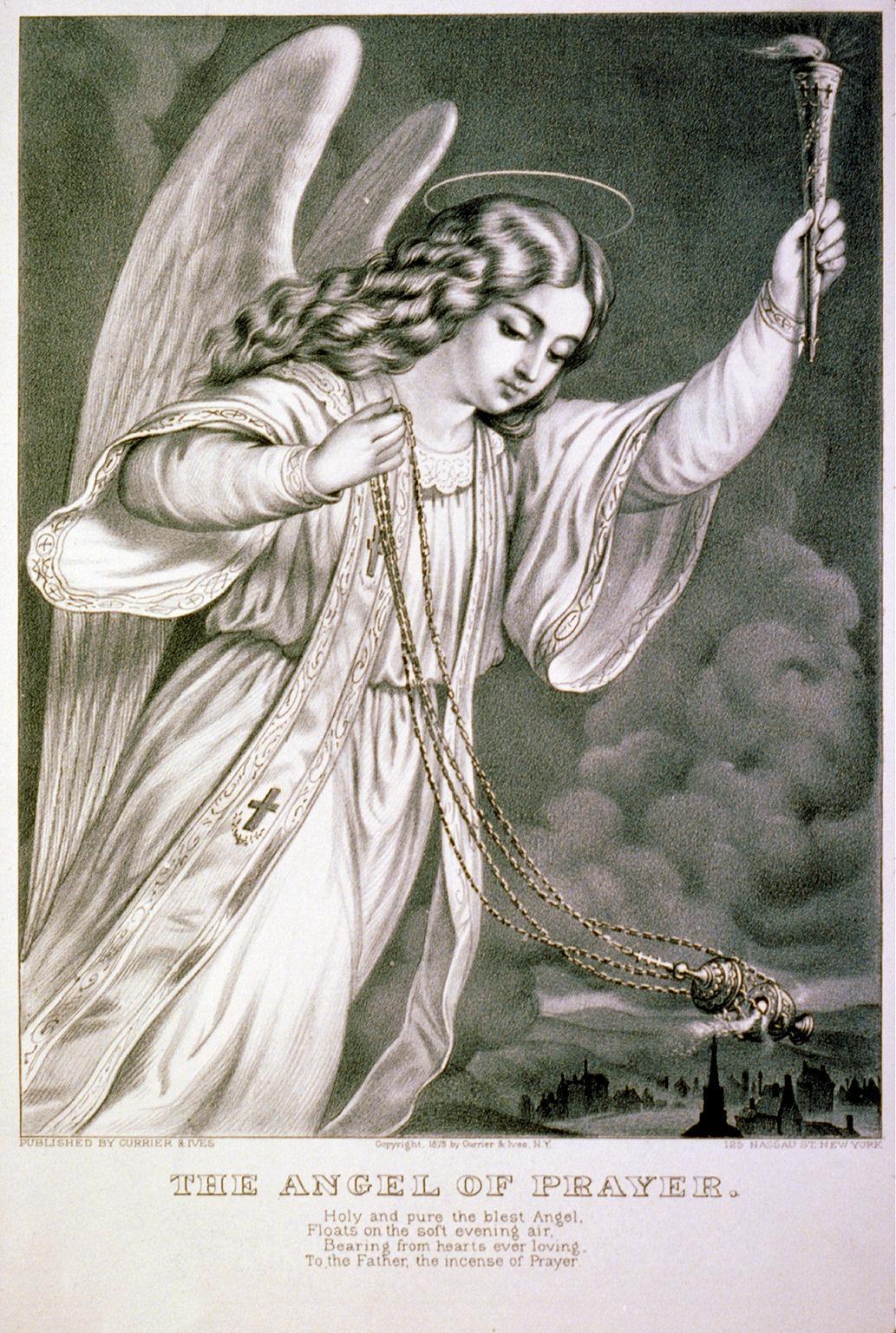 Free Vintage Clip Art - Angel Print - The Graphics Fairy