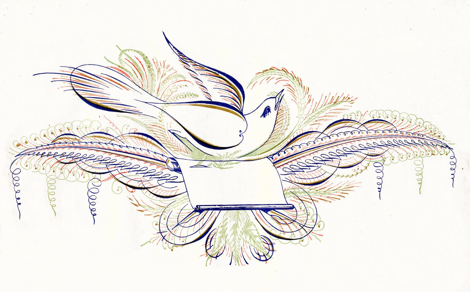 Free Antique Clip Art Pen Flourished Bird In Color The