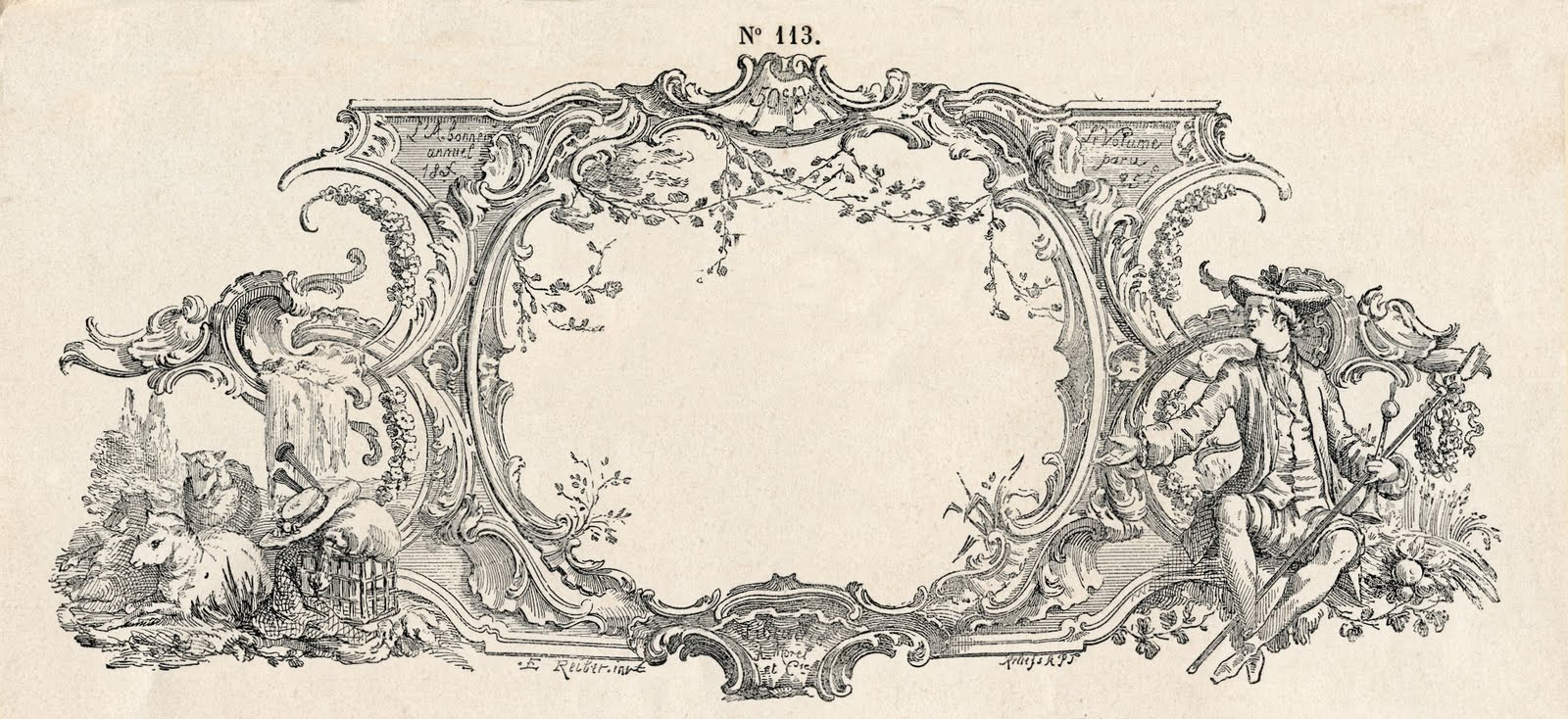 Free Vintage Clip Art - Gorgeous French Frame Engraving ...