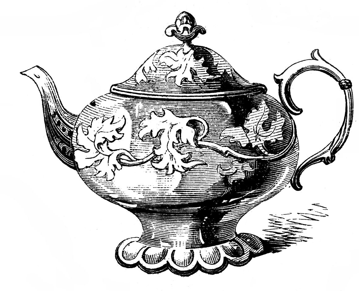 Free Vintage Clip Art - 2 Ornate Teapots - The Graphics Fairy