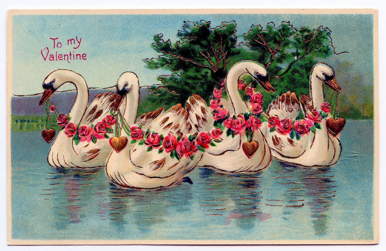 Free Valentines Day Clip Art  Lady Swans and Ring  The