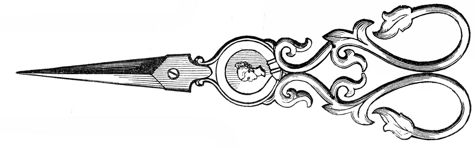 Free Vintage Clip Art - Ladies Ornate Sewing Scissors - The ...