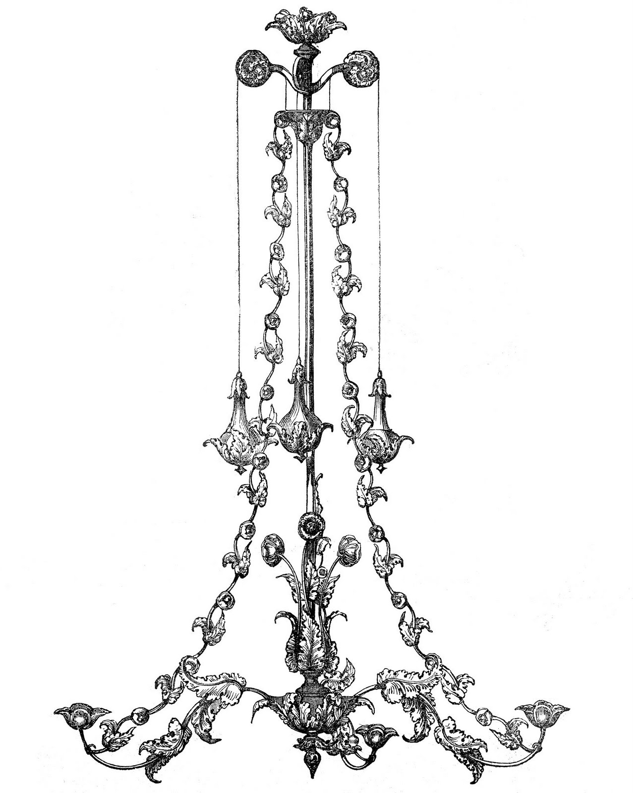 Free vintage clip art antique chandelier the graphics fairy save aloadofball Images