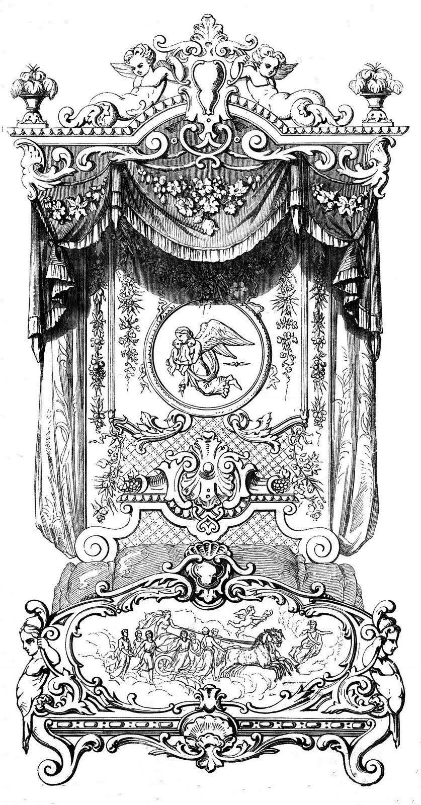 Antique Clip Art Marie Antoinette S Bed The Graphics Fairy