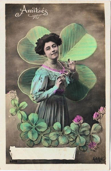 lovely victorian card w   4 leaf clovers