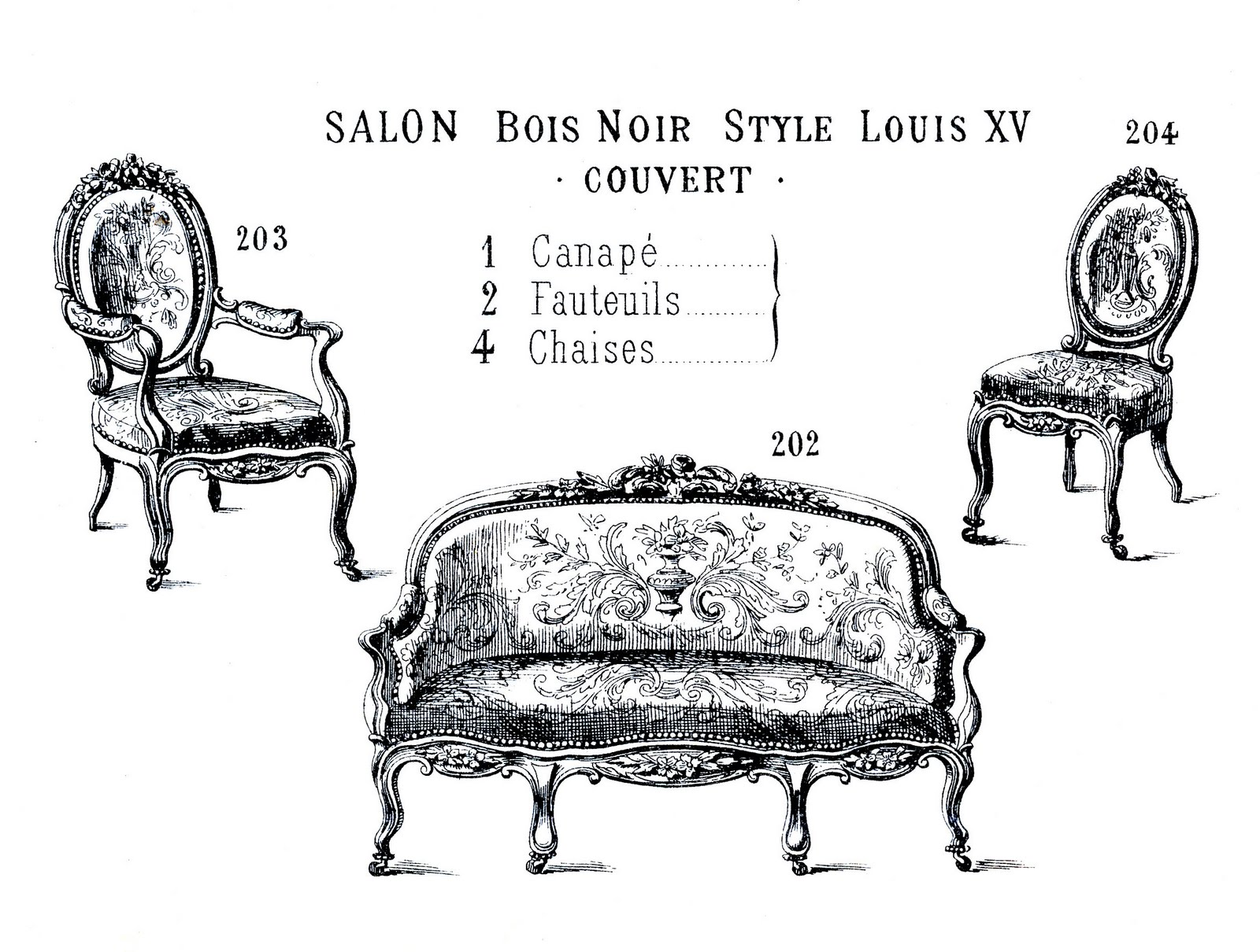 Victorian Clip Art French Furniture Paris Label The