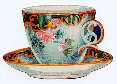 vintage clip art cute tea cup trade card the graphics