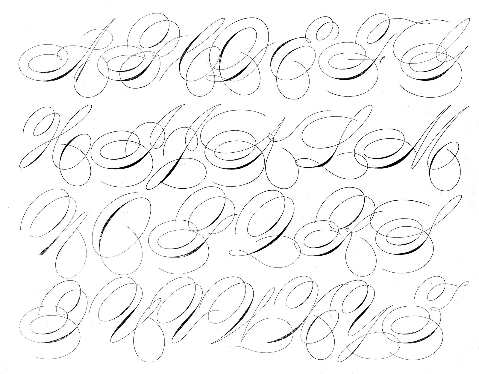 swirly writing alphabet