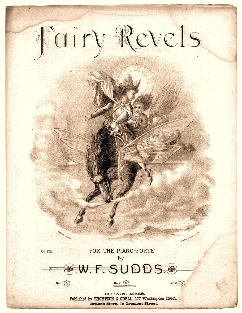 Vintage Clip Art Fairy Sheet Music