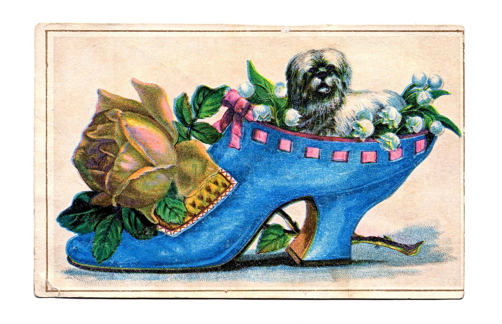 Vintage Clip Art - Ladies Shoe with Pup - The Graphics Fairy