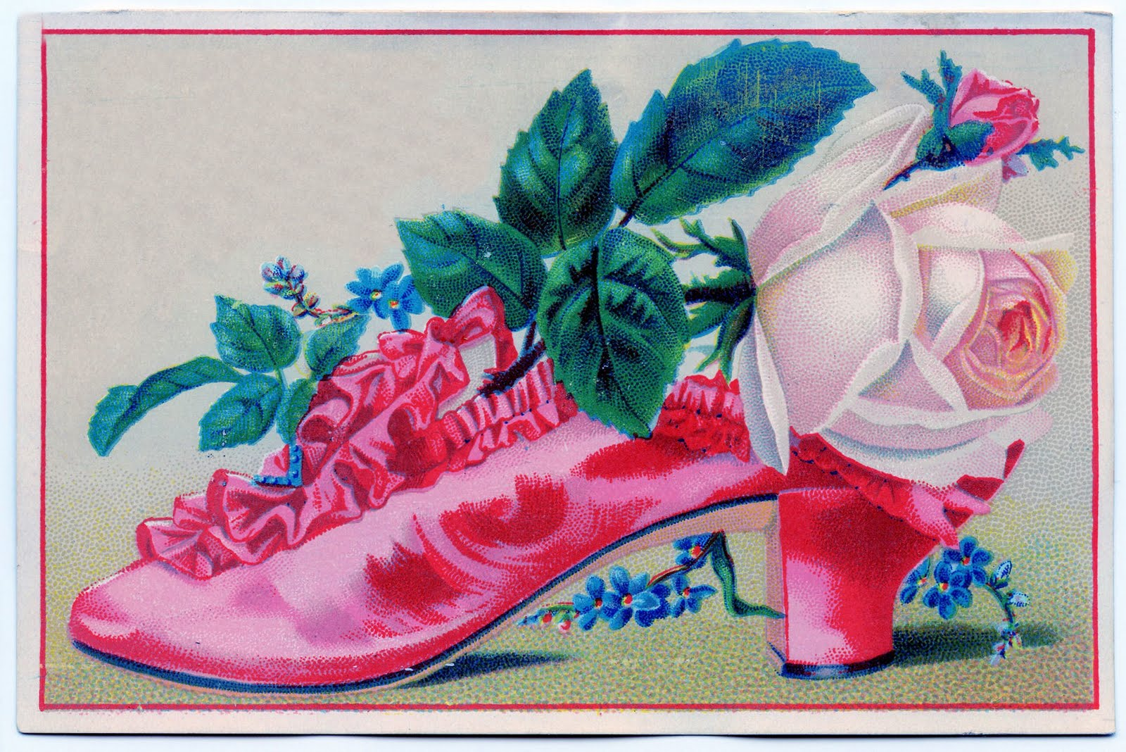 vintage clip art - ruffled shoe with roses