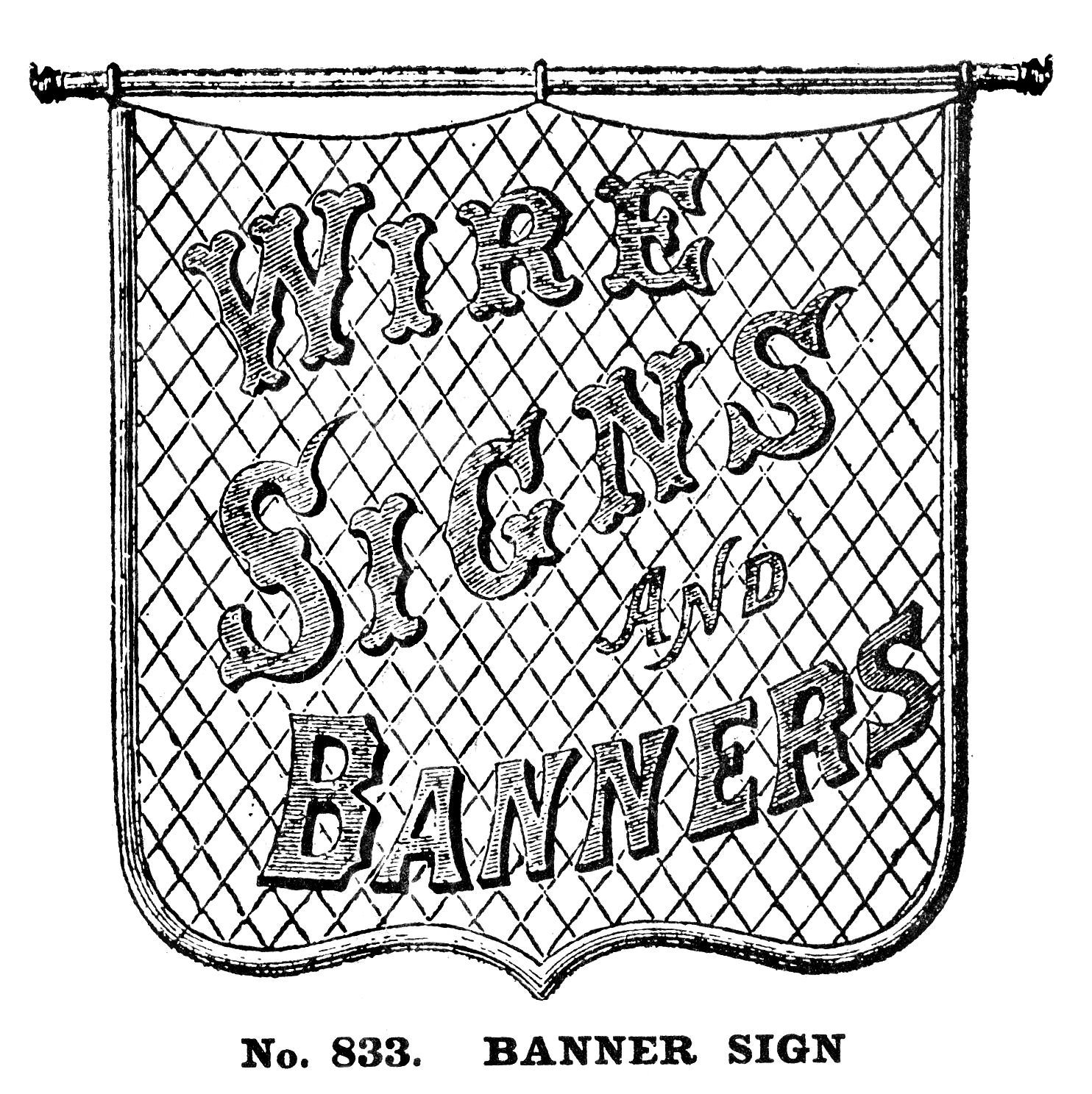 Vintage Clip Art - Fabulous Wire Sign - The Graphics Fairy