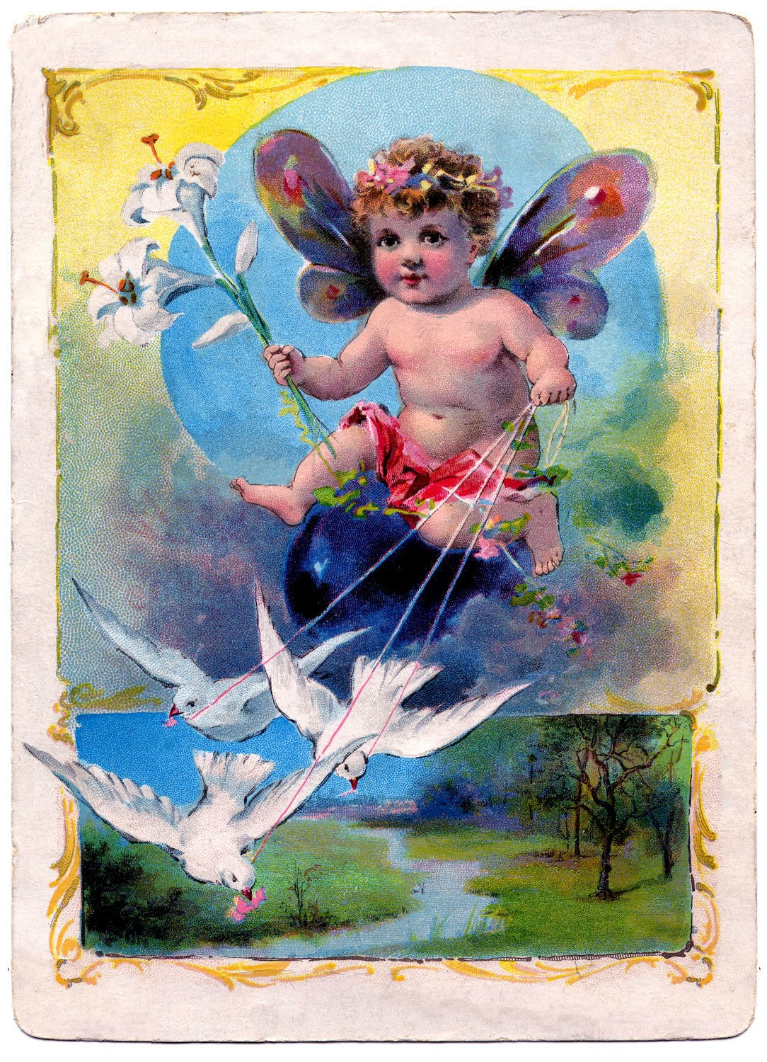 Vintage Clip Art - Fairy Baby with Doves - The Graphics Fairy