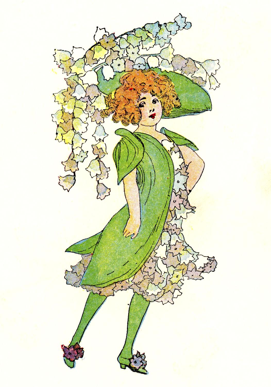 Vintage clip art 3 flower fairies the graphics fairy - The graphics fairy ...