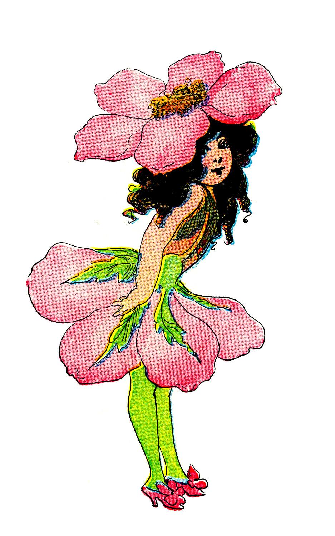 Vintage Clip Art - 3 Flower Fairies - The Graphics Fairy