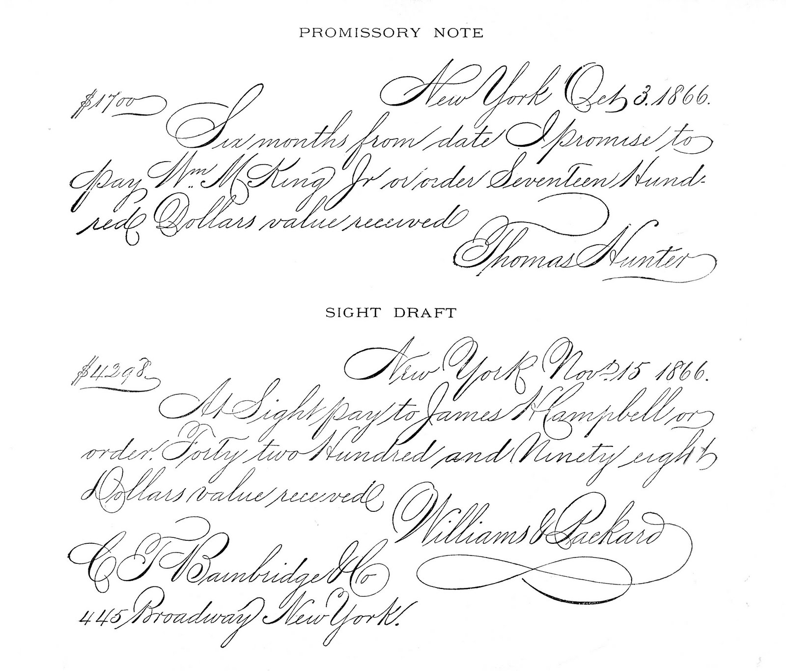 antique clip art - spencerian writing sample