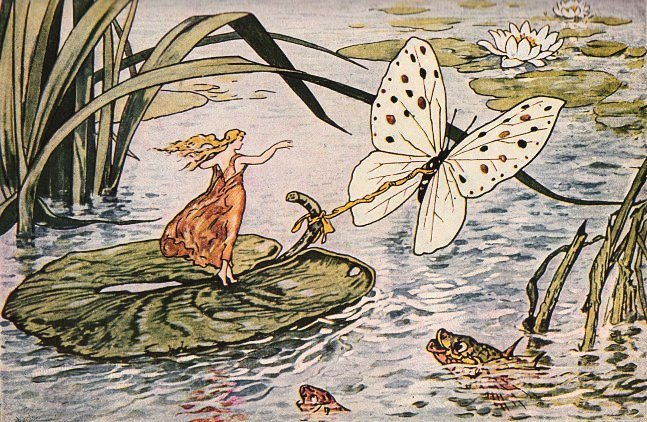 Beautiful Thumbelina with Butterfly - The Graphics Fairy