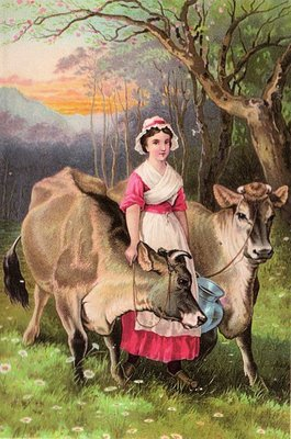 Pretty Dairy Maid With Cows The Graphics Fairy