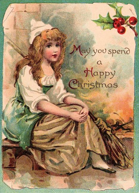 Antique Cinderella Christmas Card
