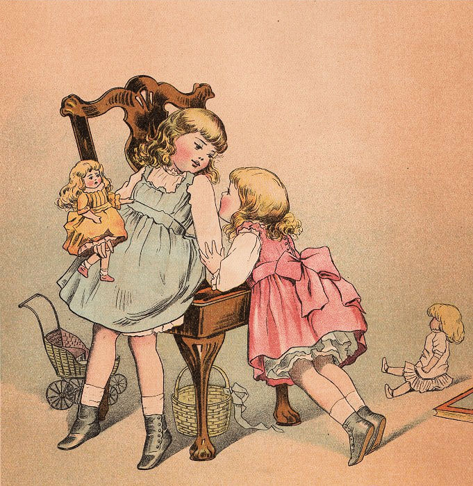 Free Victorian Clip Art - Children with Dolls - The Graphics Fairy