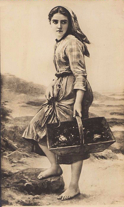 Vintage Postcard Harvest Girl By The Sea