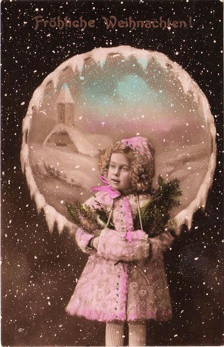 Vintage Christmas Postcard Sweet Girl The Graphics Fairy