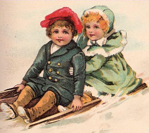 Free Victorian Clip Art Children Sleding The Graphics