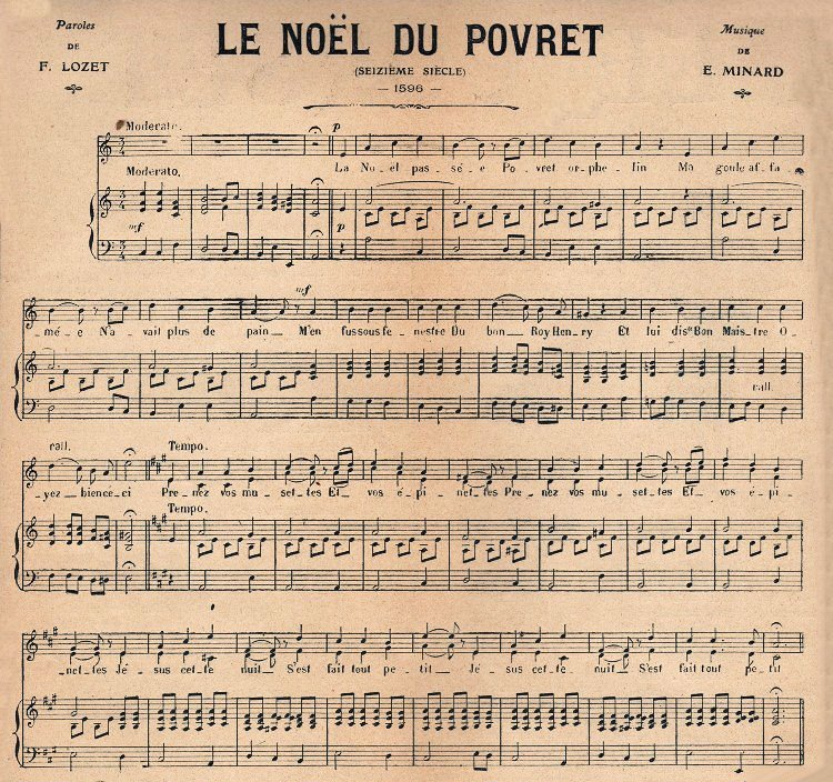 Christmas Sheet Music French The Graphics Fairy