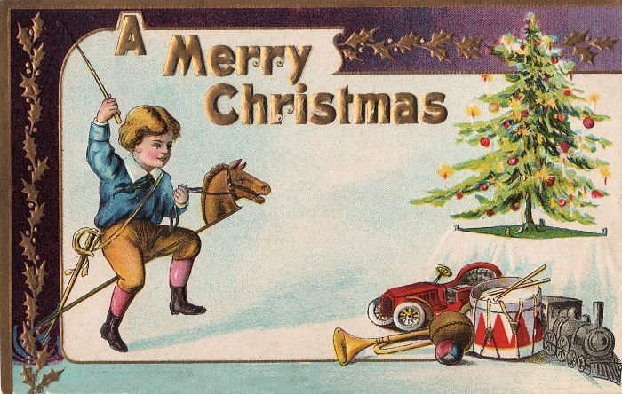this is a fun little victorian christmas postcard featuring a funny little boy with his toys