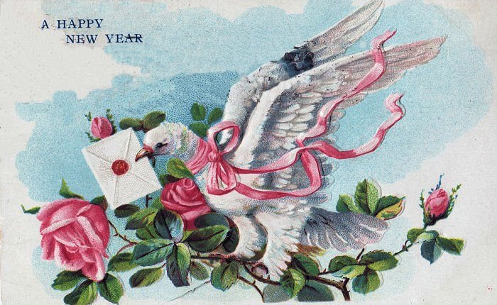 happy new year clip art dove with roses