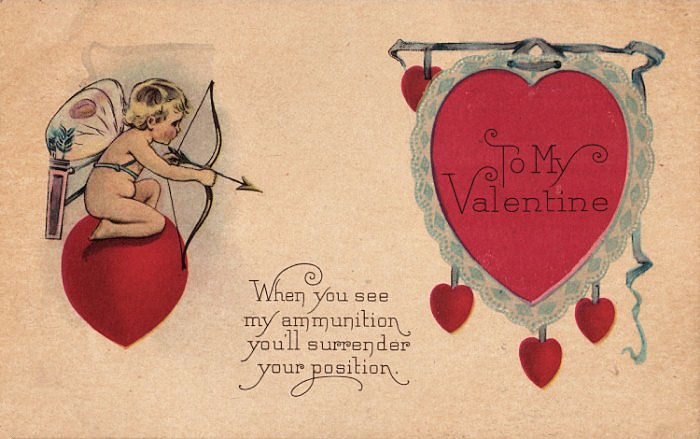 this is a cute vintage valentine which features a tiny little cupid shooting an arrow at a big red lacy heart even cuter is what the little girl